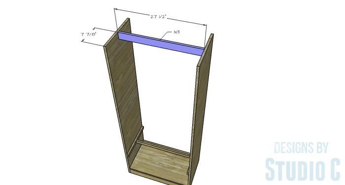 DIY Furniture Plans to Build a Freestanding Open Clothes Wardrobe - Upper Stretcher