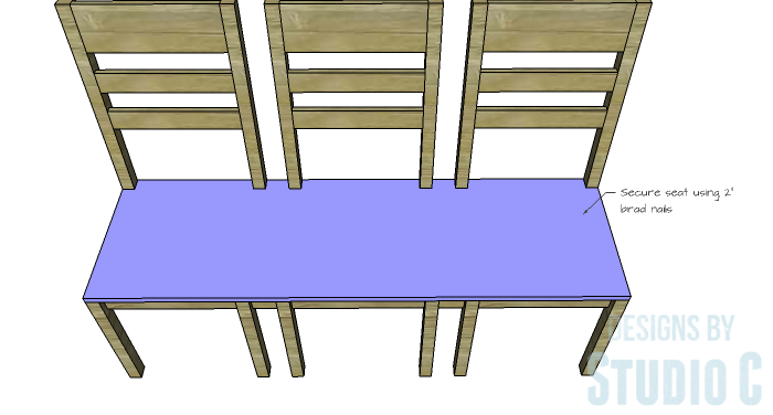 DIY Furniture Plans to Build a Long Chair Bench - Seat 2