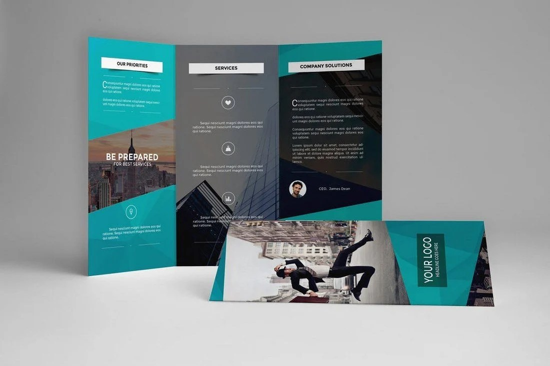 20  Best Tri Fold Brochure Templates  Word   InDesign    Design Shack Corporate Business Trifold Brochure