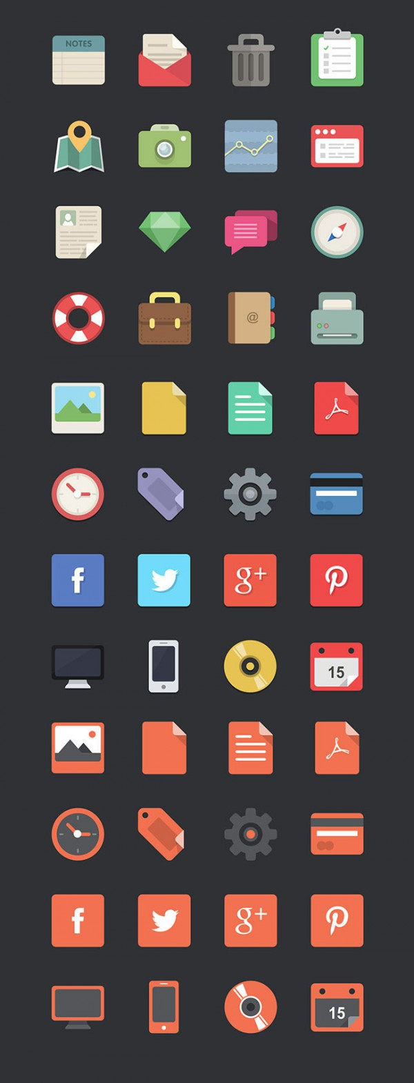 04 48 Flat Design Icons Set