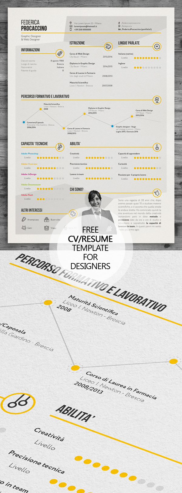 06 Free Creative Freelancer Designer Resume Template (PSD)