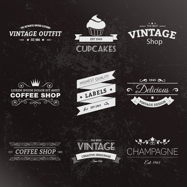07 Free Retro style labels pack