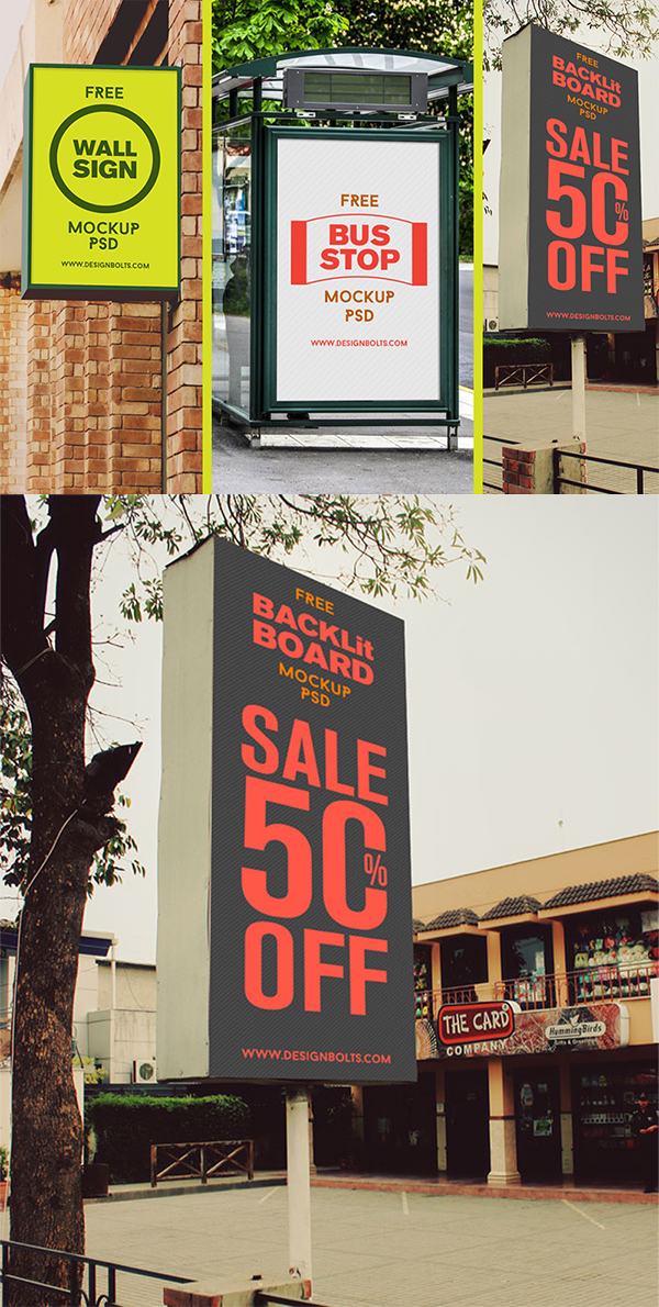 08 Free High Quality Outdoor Advertising Mockup PSD Files
