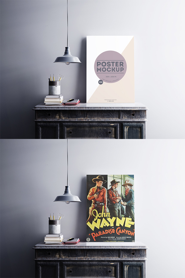 13 Free A1 Poster on the Desk Mockup