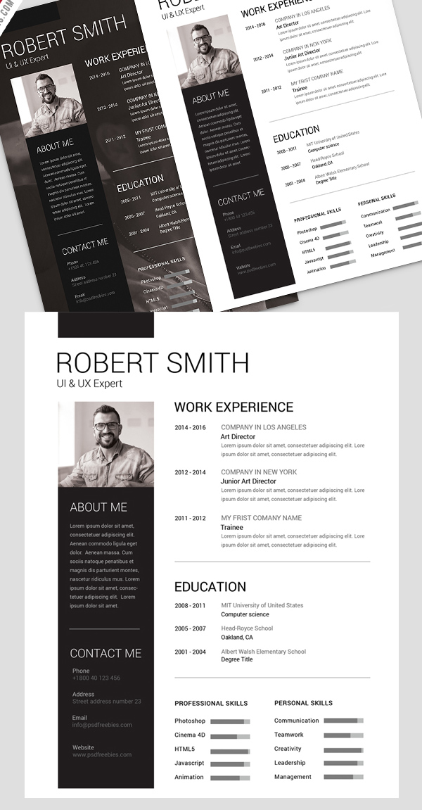 22 free professional cv  resume and cover letter psd