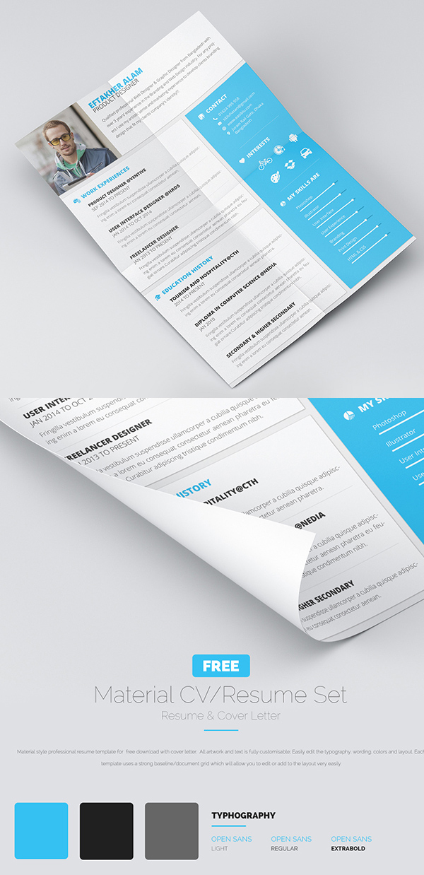 22 free professional cv resume and cover letter psd templates