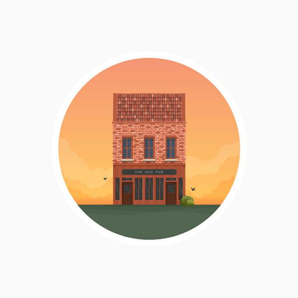 04 Round Flat Pub Icon