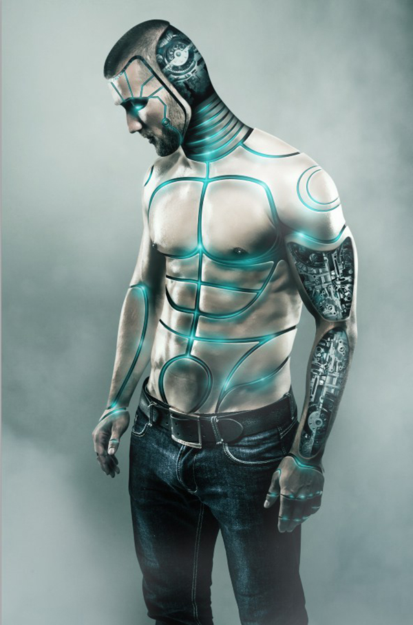 13  Futuristic Male Cyborg Photo Manipulation Tutorial