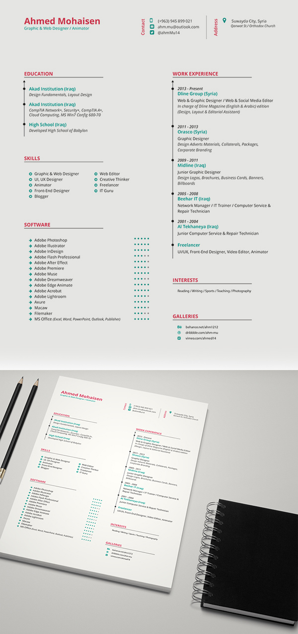 19 Free Elegant CV : Resume Template