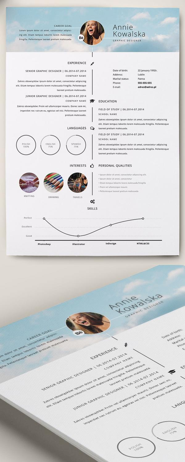 22 Free Minimalistic Resume:CV Timeline Template