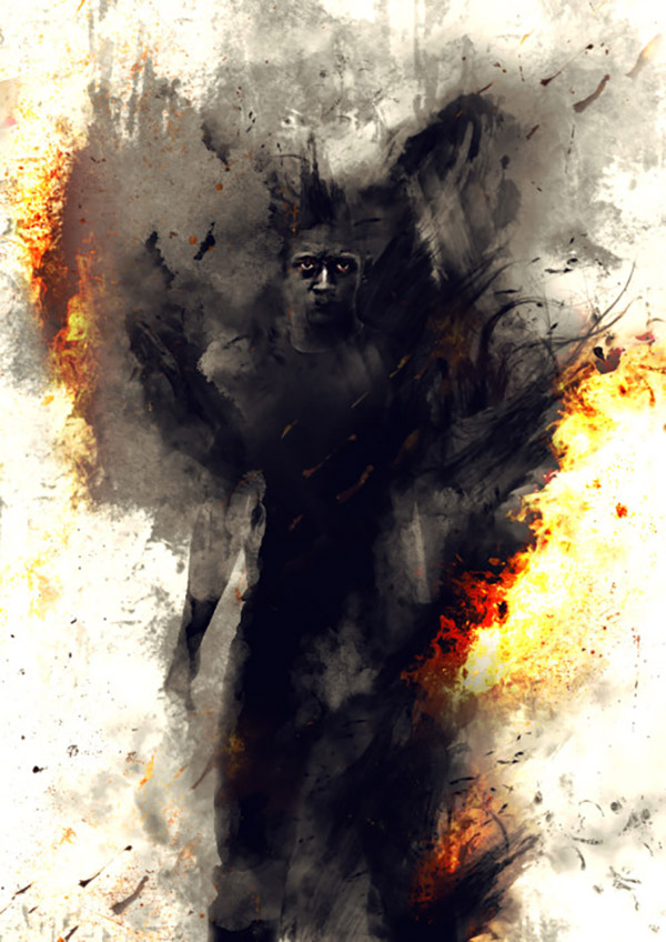 "27 Photo Manipulation And Digital Painting Of A Surreal ""Man On Fire"" In Photoshop"