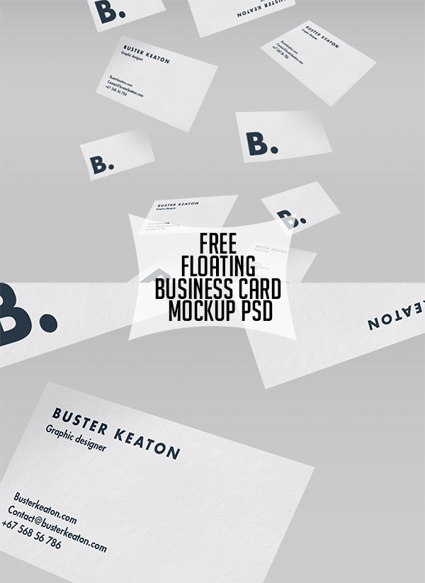 12 Free Floating Business Card Mockup PSD