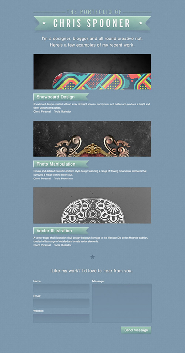 19 Create a Stylish Portfolio Site Design in Photoshop