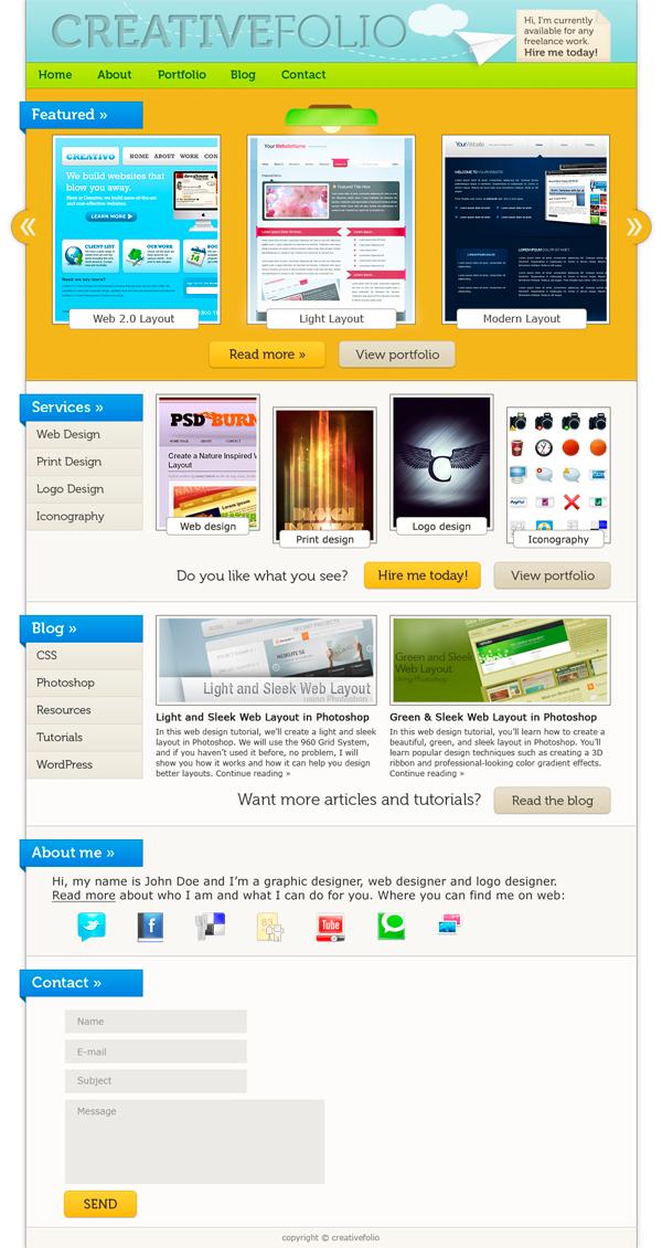 21 How to Make a Vibrant Portfolio Web Design in Photoshop