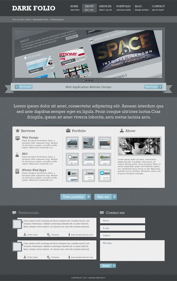25 Create a Dark Portfolio Web Design in Photoshop