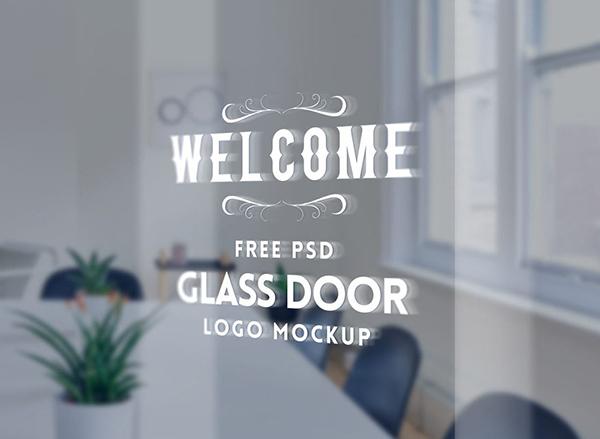 21 Glass Door Logo Mockup