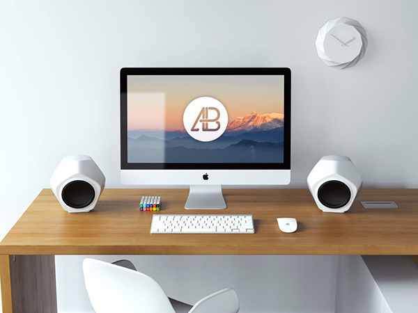 22 5k iMac Workspace Mockup