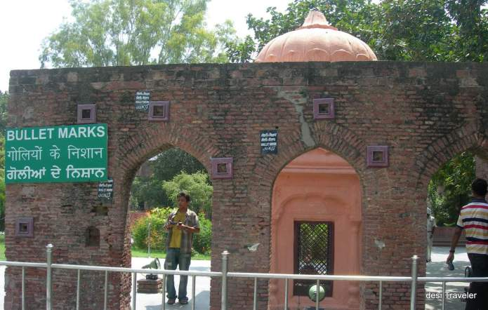 Jalianwala Bagh Memorial with bullet marks