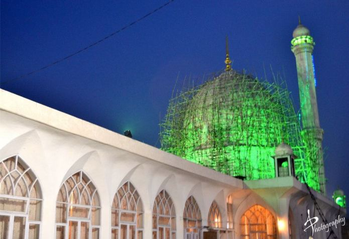 Hazrat bal shrine being repaired