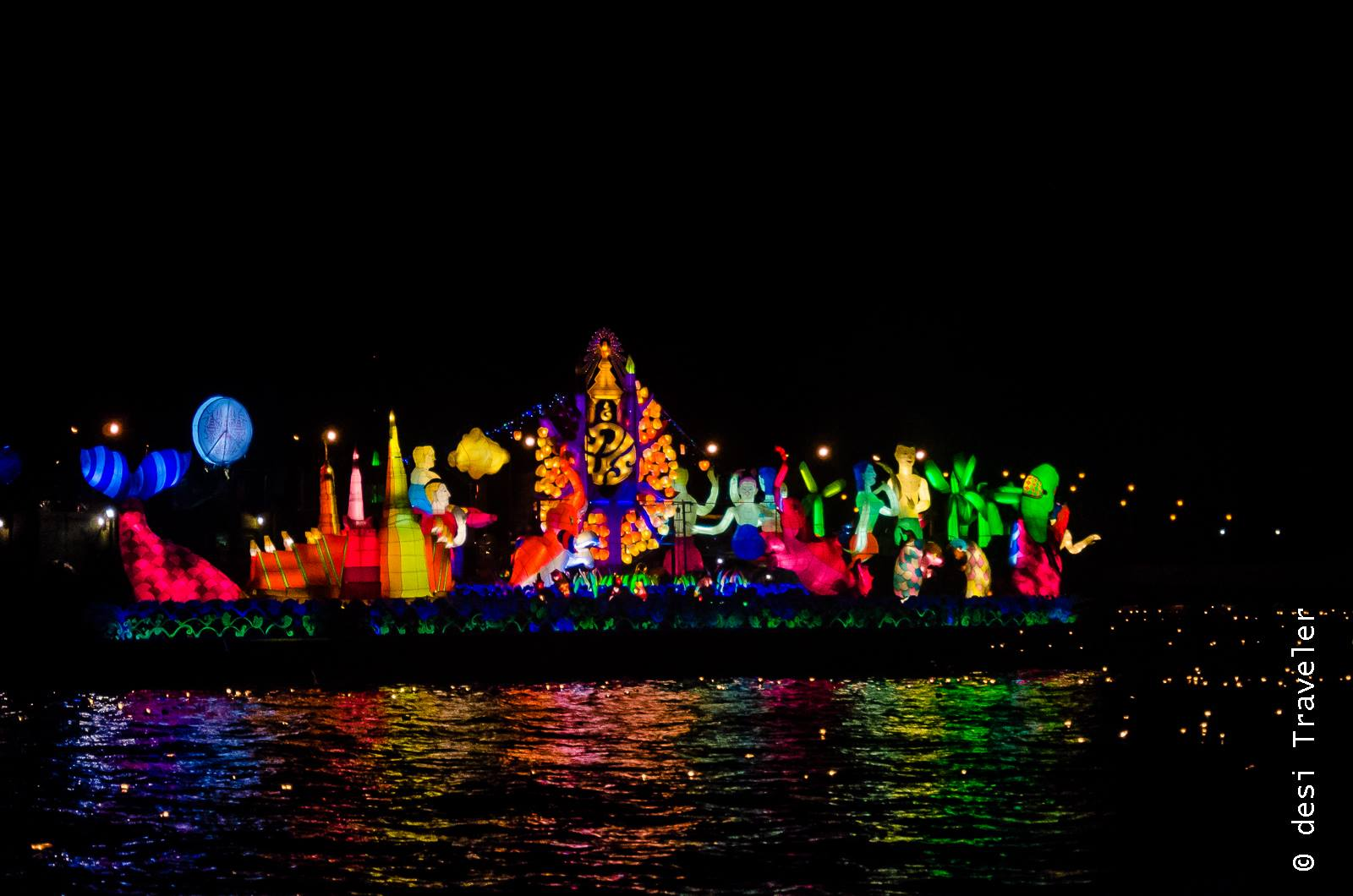 Decorated barge Loi Krathong Festival Chao Phraya Thailand