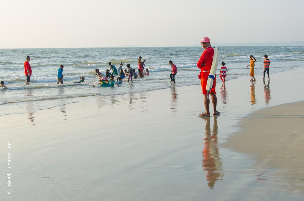 Lifeguard goa beach kids playing