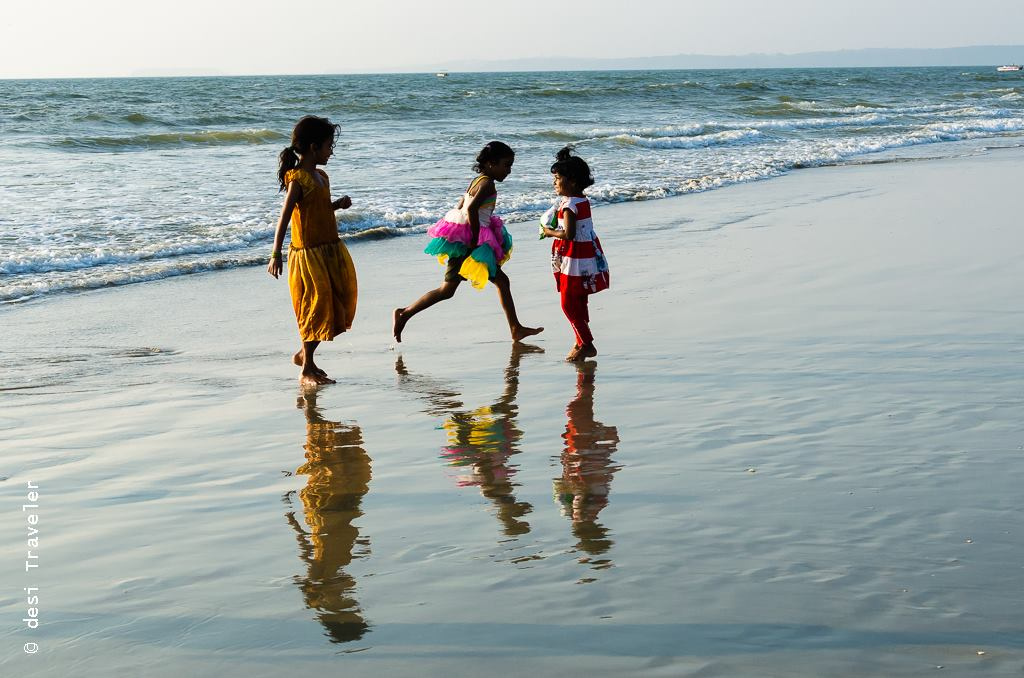 girls playing on Goa Beach Child rescue net El Shaddai