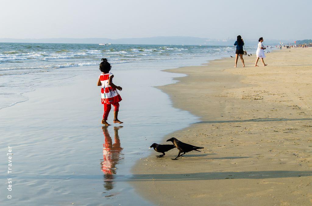 Little Girl playing on Goa beach