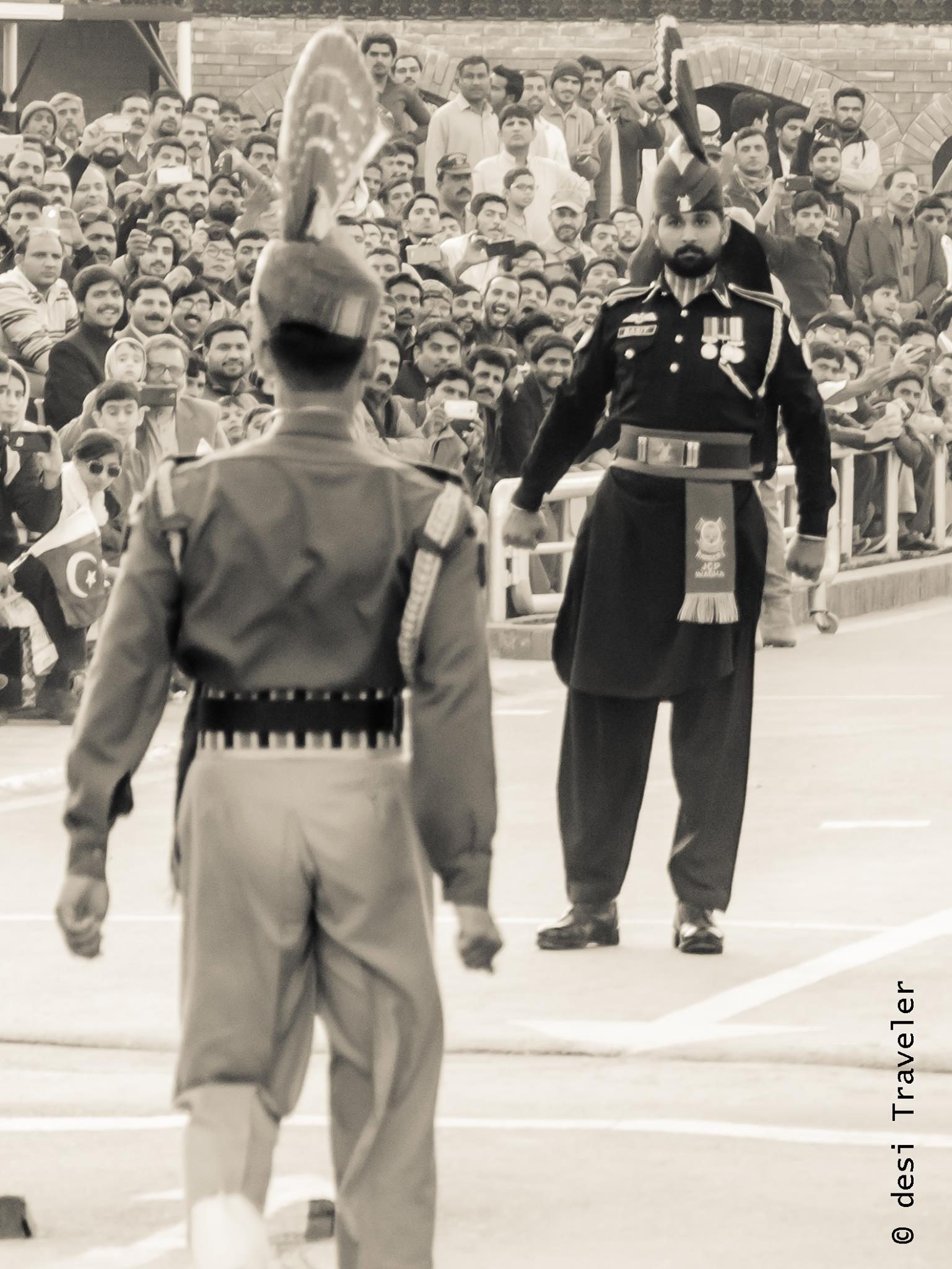 Wagah Border Ceremony Indian and Pakistani Soldiers
