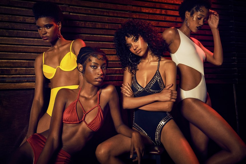 FROM LEFT: Sosheba wears swimsuit ARAKS. earrings BONHEUR JEWELRY / Makala wears swimsuit GOOSEBERRY INTIMATES. earrings BONHEUR JEWELRY. / Derlyn wears swimsuit NORMA KAMALI. earrings CATBIRD. / Marihenny wears swimsuit ARAKS. earrings BONHEUR JEWELRY.