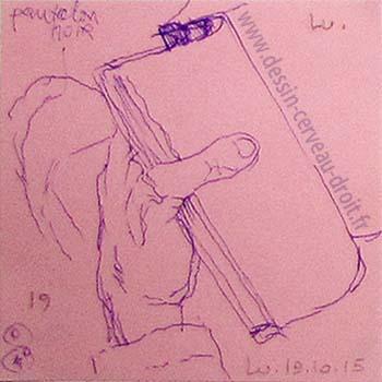 Dessin, sur Post-it, d'une main gauche, réalisé par Richard Martens, dans le métro le 19 octobre 215.