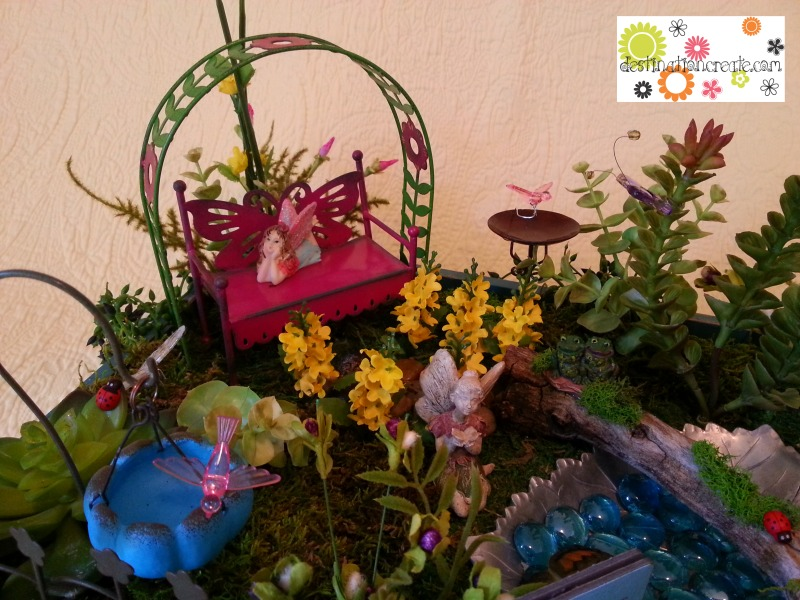 Fairy garden built in turquoise box with Genevieve Gail/Gypsy Garden Collection