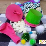 Marshmallow Shooter made from a plastic cup and a balloon.