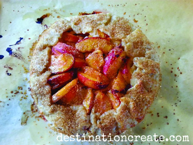 "Peach season is SO short! I can't get enough of their ""juice down the arm"" yumminess. Why not bake a delectable Peach Galette today? You will think you've died and gone to heaven. Click through for the recipe. http://destinationcreate.com/peach-galette-recipe/"