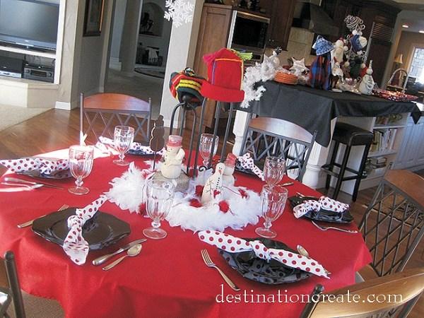 Snowman Buffet Setting