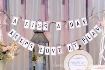 "DIY Vintage Wedding Rentals Denver- ""a kiss a day"" banner"