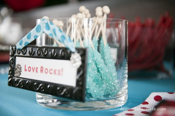 Retro/Vintage Wedding Denver- candy buffet with custom signs
