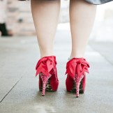 Vintage style bride Denver- gorgeous red shoes!