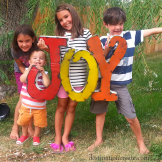 Wedding Decor Rentals Denver- metal JOY sign