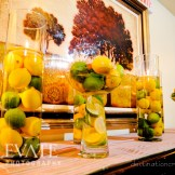 Citrus Centerpieces: Destination Create specializes in LDS wedding reception decorating, styling, planning & rentals.