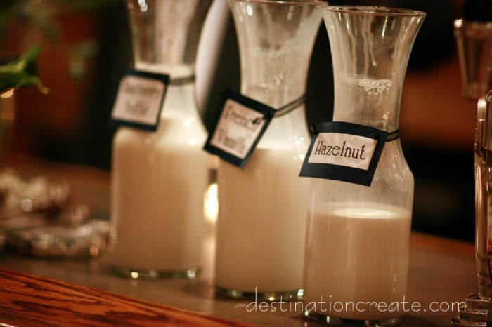 Hot chocolate bar: Destination Create offers wedding planning, decorating, styling, planning & specialty rentals.