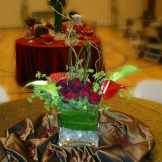 LDS Cultural Hall Reception...Red/Brown/Green: Destination Create specializes in LDS wedding reception decorating, styling, planning & specialty rentals.