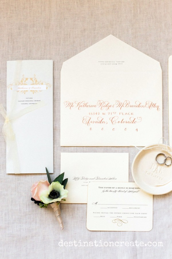 Blush & gold invitations set the stage for the romantic and luxurious wedding that is to come