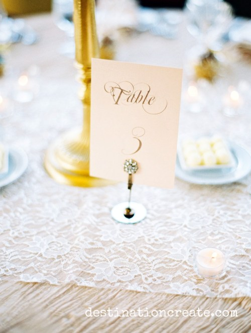 Blush and gold table number