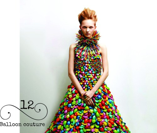 Halloween costume anyone? Can you believe this dress made from balloons? Balloon couture for the girl who has everything!
