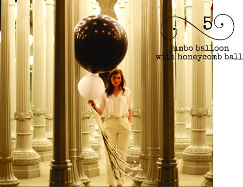 Here's some classy balloon decor... jumbo balloon with honeycomb ball & fringe tail