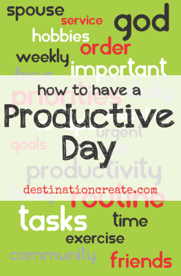 DISCOVER the secret to having a productive day. Only 24 hours in a day... I feel your pain! I'd like to share some concepts that have really helped me be more productive MOST days... no one is perfect right? We really can't manage time- we can only manage how we use time.