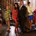 Betty Francis (January Jones), Sally Draper (Kiernan Shipka), Megan Draper (Jessica Pare), Don Draper (Jon Hamm), Peggy Olson (Elisabeth Moss) and Joan Harris (Christina Hendricks) - Mad Men _ Season 7, Gallery - Photo Credit: Frank Ockenfels 3/AMC - Mad Men _ Season 7, Gallery - Photo Credit: Frank Ockenfels 3/AMC