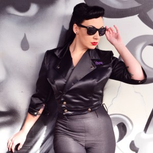 Bettie Rage in The Bettie Biker Jacket | Devel Women