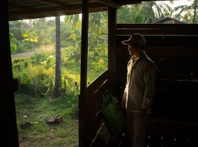 November 4, 2014 - Preah Rumkel, Stung Treng (Cambodia). Dorn Bann (47), deputy head of Anlung Cheauteal River Guard Post, poses for a picture inside his house. © Thomas Cristofoletti / Ruom for WWF
