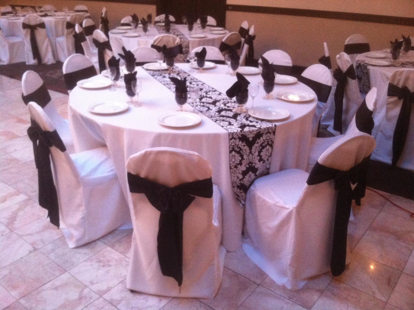 p wedding table runners Black on White Damask Runner Wedding Rental Decor Crown Point Northwest Indiana Linen Rental